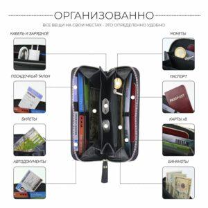 Стильный черный мужской портмоне клатч BRL-28561