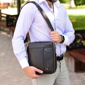 Кожаная коричневая мужская сумка через плечо BRL-19878 228243