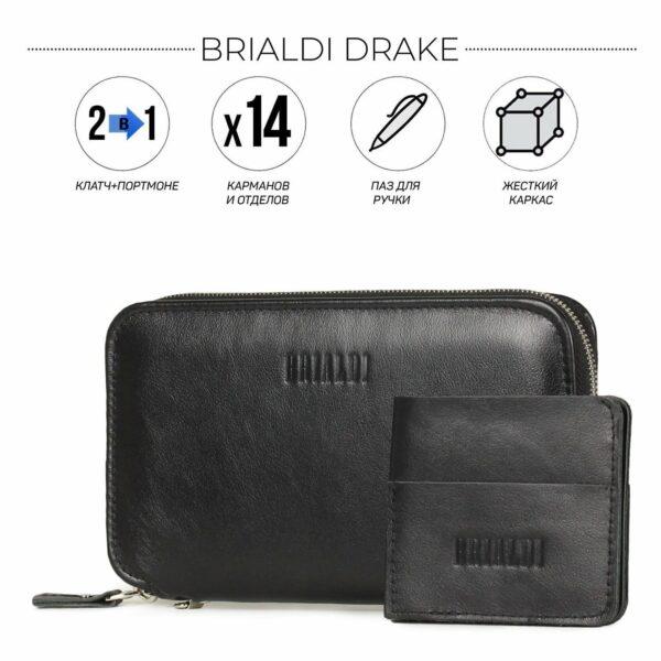 Удобный черный мужской портмоне клатч BRL-23091