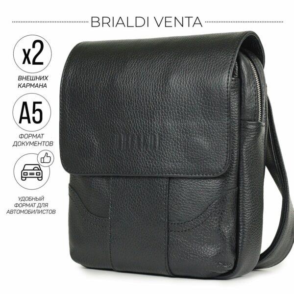 Вместительная черная мужская сумка через плечо BRL-31478