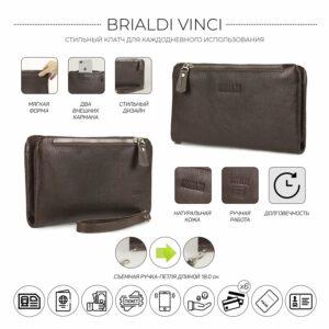 Кожаный коричневый мужской портмоне клатч BRL-32928 228819