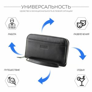 Неповторимый черный мужской портмоне клатч BRL-28616 229555