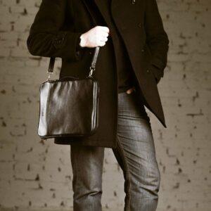 Кожаная черная мужская сумка мессенджер BRL-1022 229386