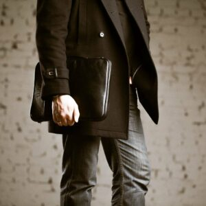 Кожаная черная мужская сумка мессенджер BRL-1022 229385