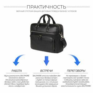 Кожаный черный мужской портфель деловой BRL-44548 227282