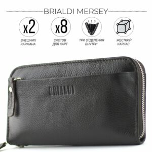 Кожаный коричневый мужской портмоне клатч BRL-28614