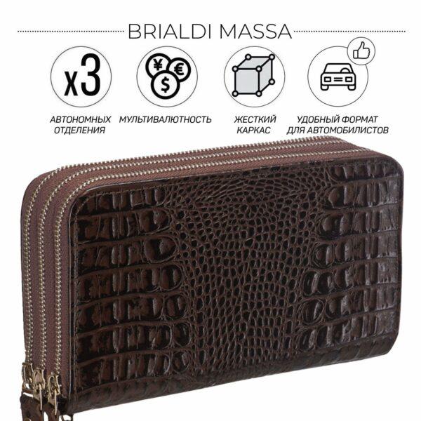Кожаный коричневый мужской портмоне клатч BRL-23064