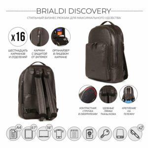 Неповторимый коричневый мужской деловой рюкзак BRL-35550