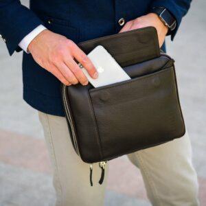 Кожаная коричневая мужская сумка через плечо BRL-19878 228227