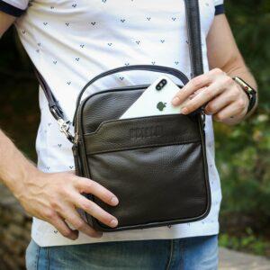 Удобная коричневая мужская сумка через плечо BRL-34400 228937