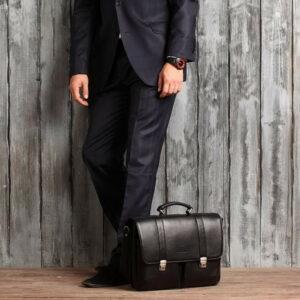 Стильный черный мужской портфель классический BRL-912 227502