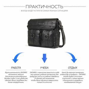 Стильная черная мужская сумка через плечо BRL-12995 227157