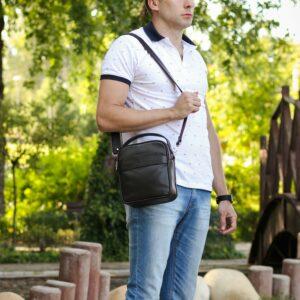 Удобная коричневая мужская сумка через плечо BRL-34400 228962