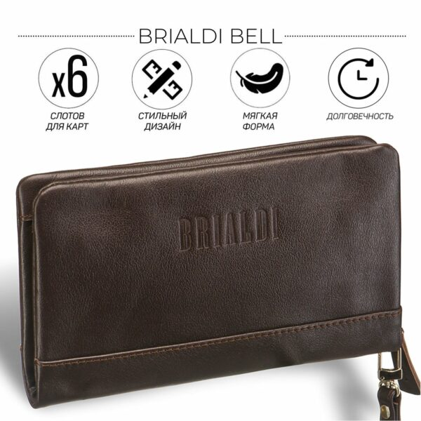 Неповторимый коричневый мужской портмоне клатч BRL-12060