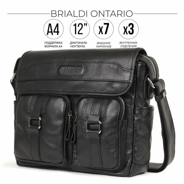 Стильная черная мужская сумка через плечо BRL-12995