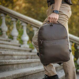 Функциональный коричневый мужской деловой рюкзак BRL-35566