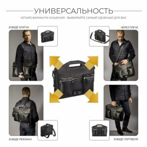 Кожаная черная мужская деловая сумка трансформер BRL-28423