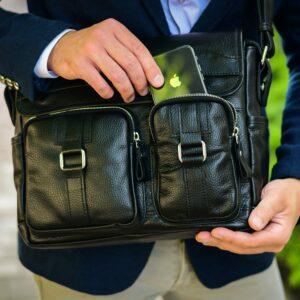Стильная черная мужская сумка через плечо BRL-12995 227156