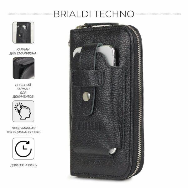 Кожаный черный мужской портмоне клатч BRL-32932