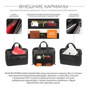 Кожаный черный мужской портфель деловой BRL-44548 227278