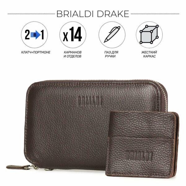 Деловой коричневый мужской портмоне клатч BRL-23097