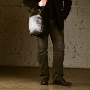 Кожаная черная мужская сумка мессенджер BRL-1022 229384