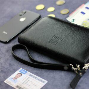Уникальный черный мужской портмоне клатч BRL-19841