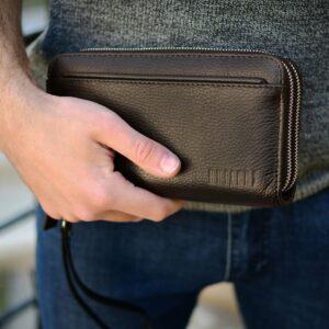 Кожаный коричневый мужской портмоне клатч BRL-32926 228791