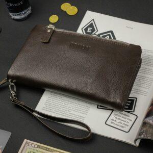 Кожаный коричневый мужской портмоне клатч BRL-32928 228829