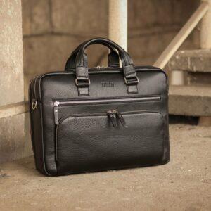 Кожаный черный мужской портфель деловой BRL-44548 227271
