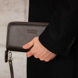 Стильный коричневый мужской портмоне клатч BRL-43904 229101
