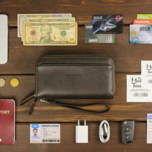 Кожаный коричневый мужской портмоне клатч BRL-32920 228758