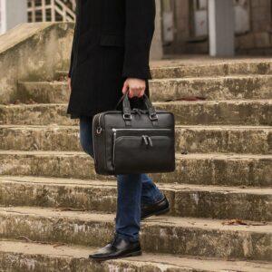 Кожаный черный мужской портфель деловой BRL-44548 227279
