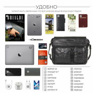 Стильная черная мужская сумка через плечо BRL-12995 227163
