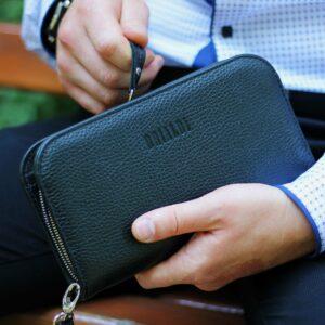Удобный черный мужской портмоне клатч BRL-26738