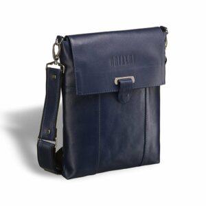 Солидная синяя мужская сумка мессенджер BRL-7247