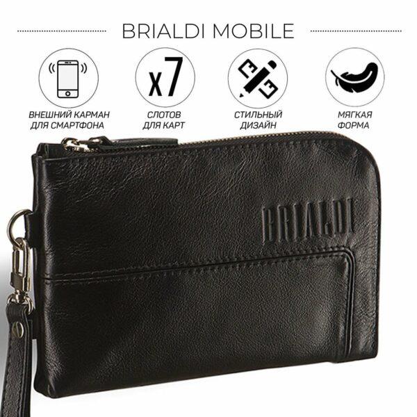 Кожаный черный мужской портмоне клатч BRL-1516