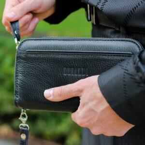Кожаный черный мужской портмоне клатч BRL-28535