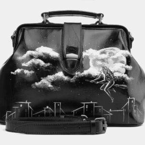 Стильная черная сумка с росписью ATS-4006