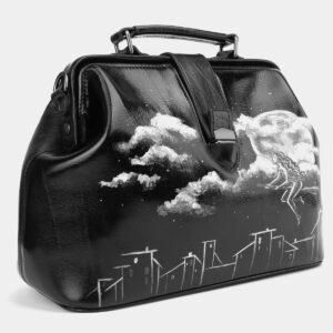 Функциональная черная сумка с росписью ATS-4006 227253