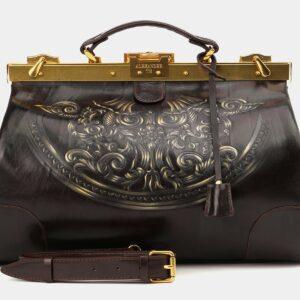 Кожаный коричневый саквояж с росписью ATS-4007