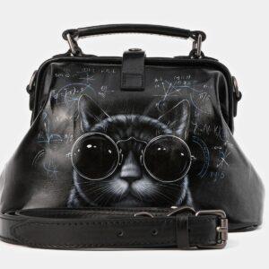 Кожаная черная сумка с росписью ATS-4010