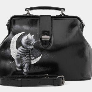 Солидная черная сумка с росписью ATS-4016
