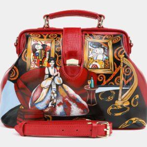 Кожаная красная сумка с росписью ATS-4017