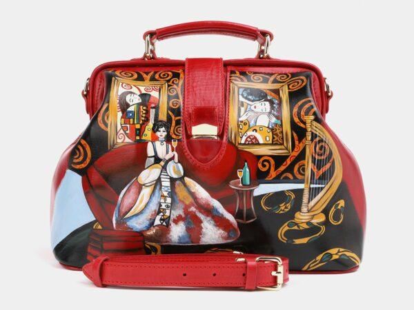 Уникальная красная сумка с росписью ATS-4017