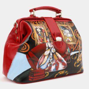 Удобная красная сумка с росписью ATS-4017
