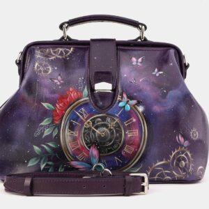Удобная фиолетовая сумка с росписью ATS-4021