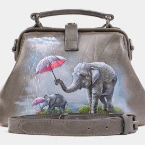 Удобная серая сумка с росписью ATS-4019