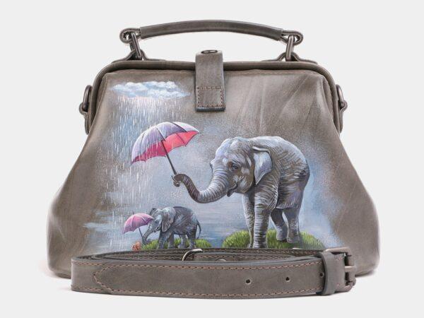 Стильная серая сумка с росписью ATS-4019