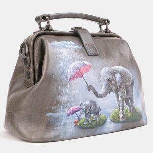 Стильная серая сумка с росписью ATS-4019 229485
